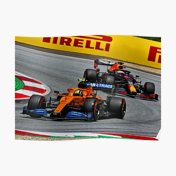 Lando Norris fighting with Max Verstappen during the 2020 Austrian Grand Prix Poster
