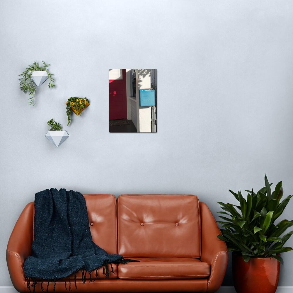 Blue mailbox, Red door, Blue mailbox socks, Bathroom decor Metal Print