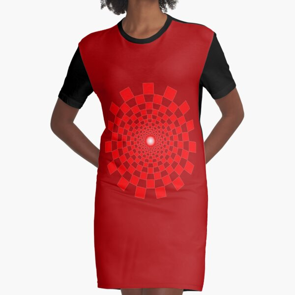 OP ART. Optical Illusion. Spiral, Red Squares in Circle. Graphic T-Shirt Dress