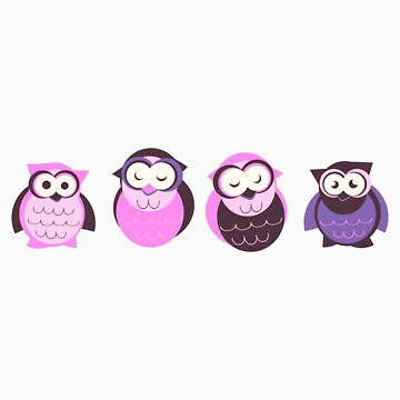 4 Pink Owls by eppiepeppercorn