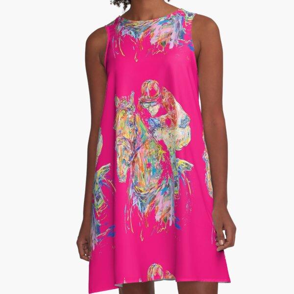 Pinker Reiter A-Linien Kleid