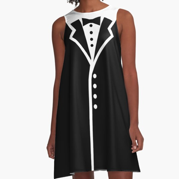Tux Faux Collar and Buttons A-Line Dress