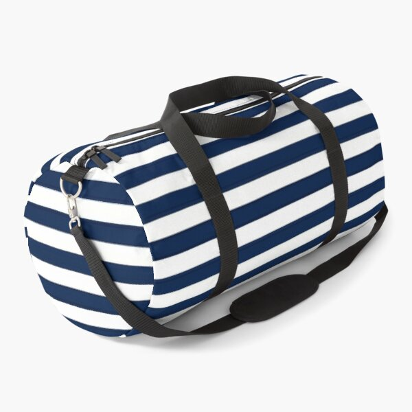 Striped Navy Blue Duffle Bag