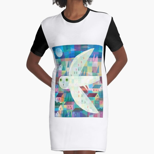 Owl over Town Graphic T-Shirt Dress