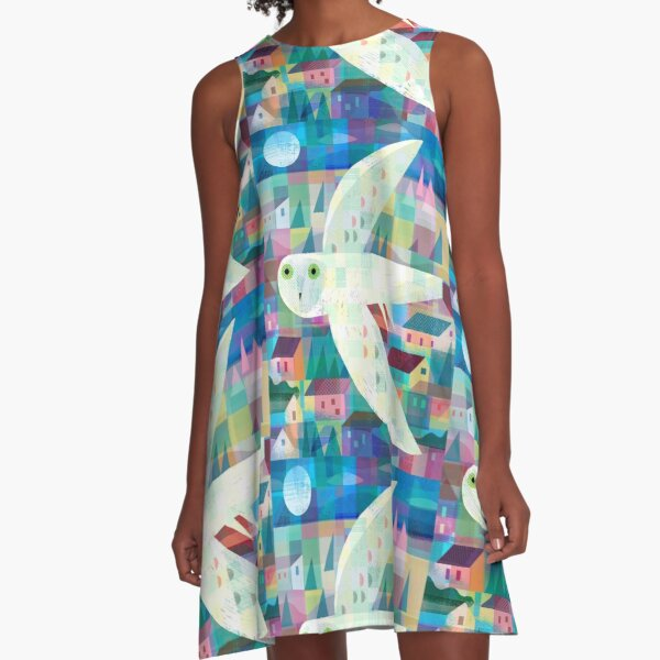Owl over Town A-Line Dress