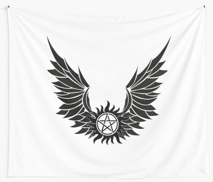 Spn Anti Possession Tattoo With Wings Wall Tapestries By