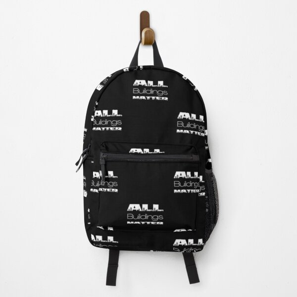 All buildings matter Cityscape  White Typography Design Backpack