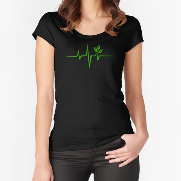 Heartbeat, Pulse Green, Vegan, Frequency, Wave, Earth, Planet Fitted Scoop T-Shirt