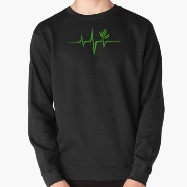 Heartbeat, Pulse Green, Vegan, Frequency, Wave, Earth, Planet Pullover Sweatshirt