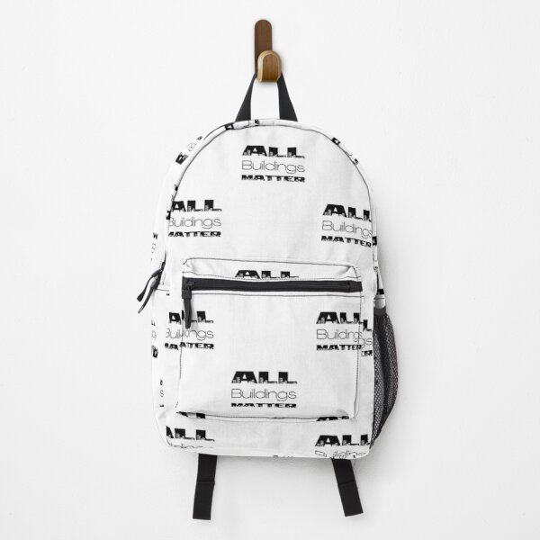 All buildings matter Cityscape  Black Typography Design Backpack