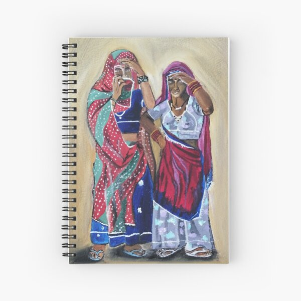 Oil painting of two Indian women peeping through their sari. Spiral Notebook