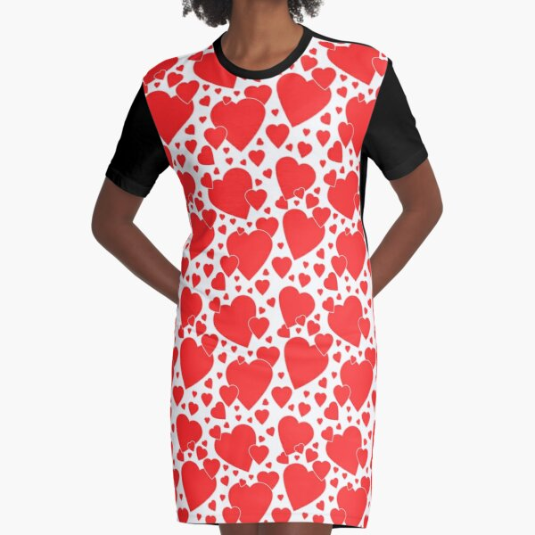 Valentine Hearts Graphic T-Shirt Dress