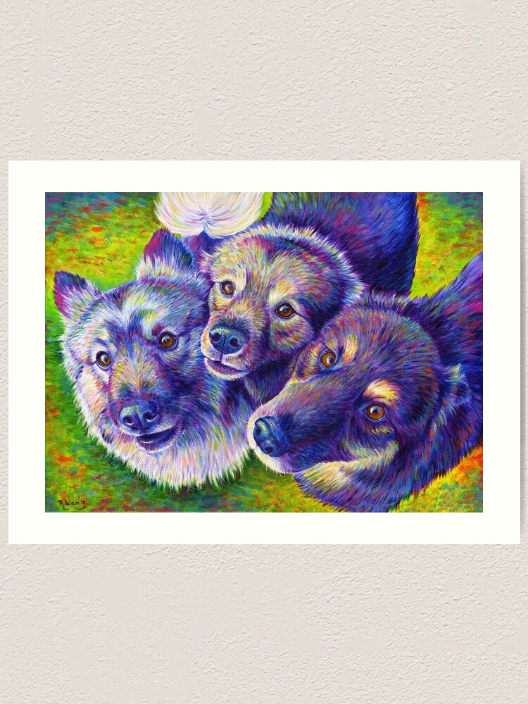 Alternate view of Three Amigos Colorful Dogs Art Print
