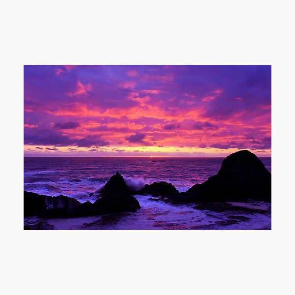 Pink Sunset on the Oregon Coast Photographic Print