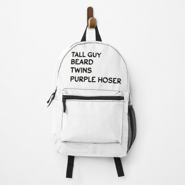 Tall Guy Beard Twins Purple Hoser T-shirts Backpack
