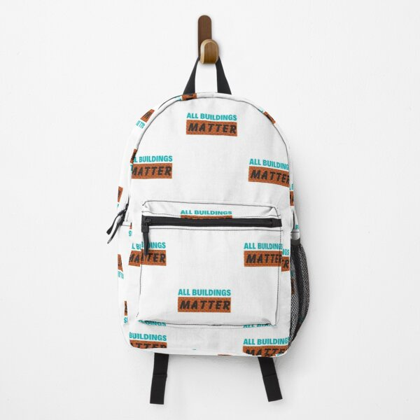 Colorful All buildings Matter Brick Wall Black Typography Design Backpack