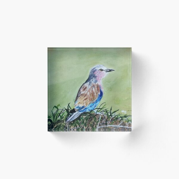 Little bird chirping sitting on a pile of grass. Acrylic Block