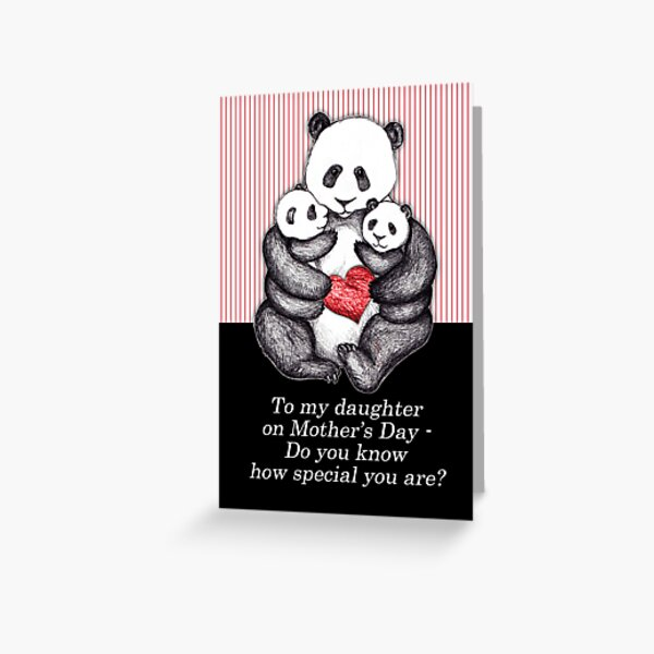 To my daughter on Mother's Day, panda illustration. Greeting Card