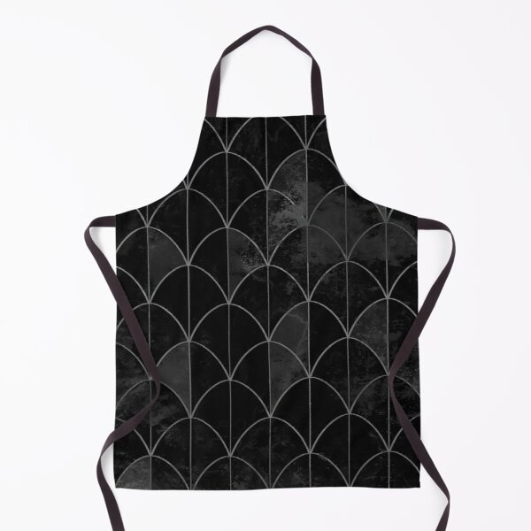 Mermaid scales. Black and white watercolor. Apron