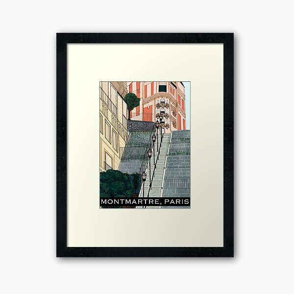 montmartre paris travel poster Framed Art Print
