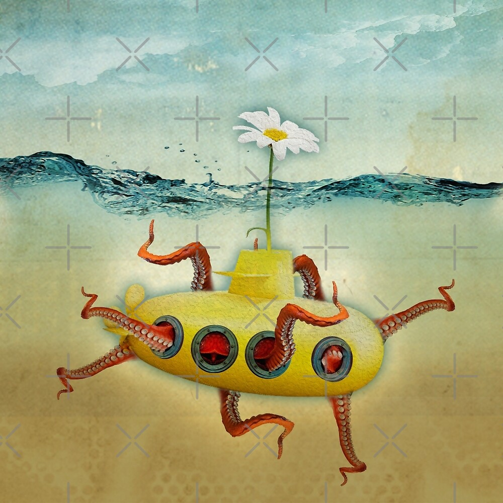 yellow submarine in an octopuses garden by Vin  Zzep