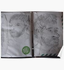 2XSelf-portraitS from photo -(220413)- Pencil/Back of A5 Envelope Poster