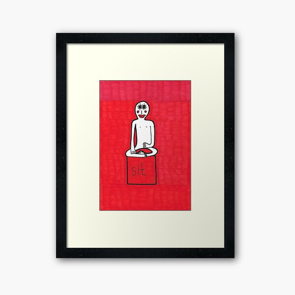 Sit. Red Meditation Man Framed Art Print
