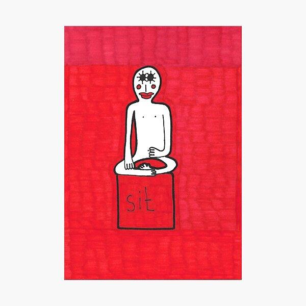 Sit. Red Meditation Man Photographic Print