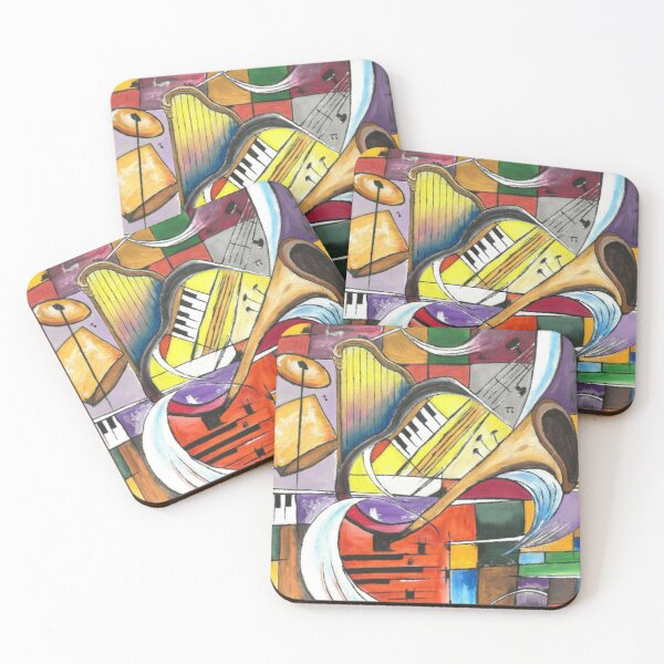 abstract music with graphic shapes Coasters (Set of 4)