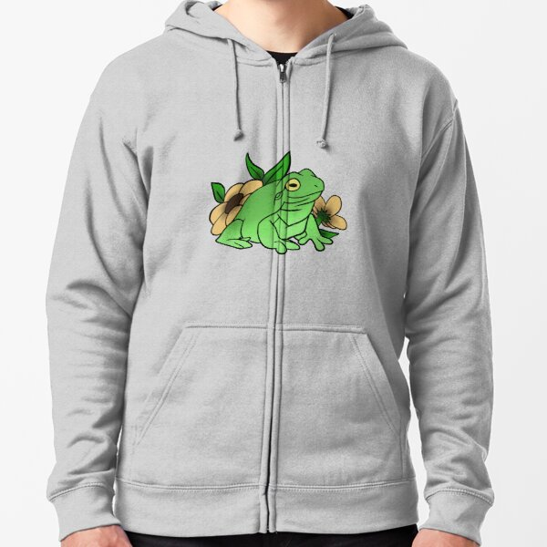 Frog with flowers Zipped Hoodie