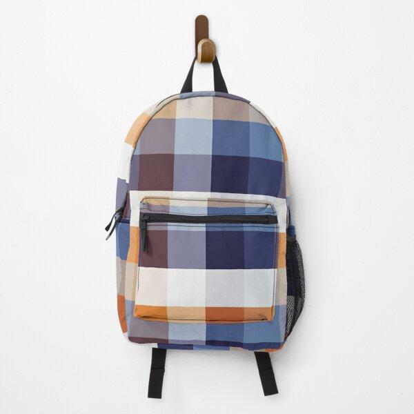 Denim Orange Gingham Backpack