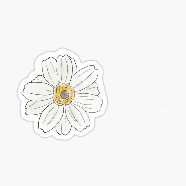 White Zinnia Flower Sticker