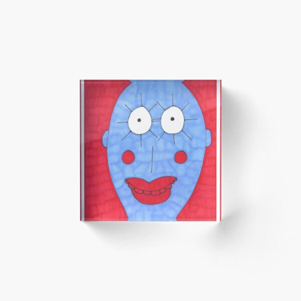 Blue and Red Man Acrylic Block