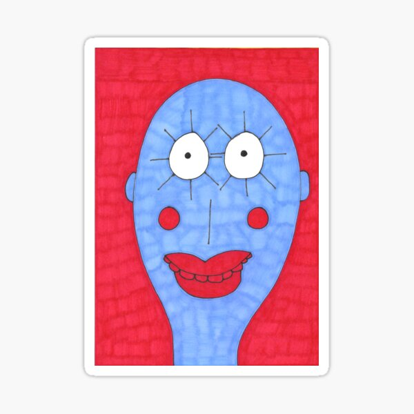 Blue and Red Man Sticker