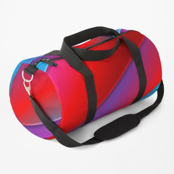 Psychedelic Red Blue Pink Purple Neon Trippy Wave  Duffle Bag