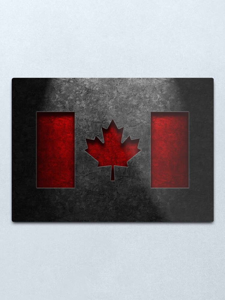 Alternate view of Canadian Flag Stone Texture Metal Print