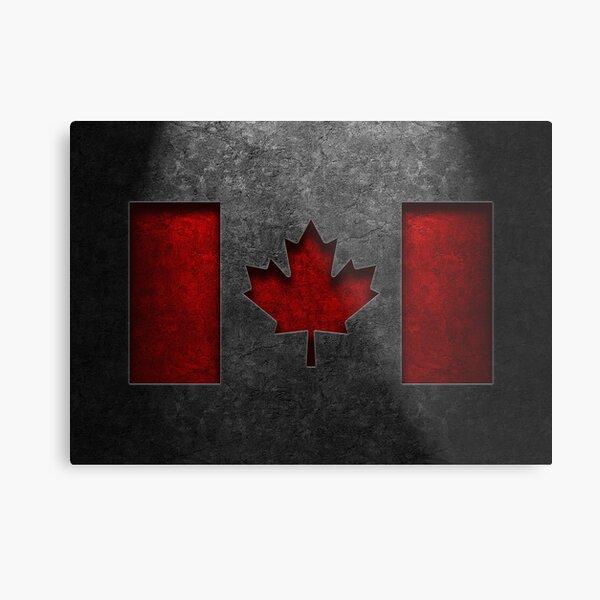 Canadian Flag Stone Texture Metal Print