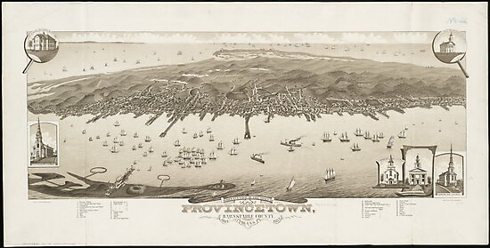 Vintage Pictorial Map of Provincetown MA (1882) by alleycatshirts
