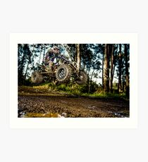 Quad rider jumping Art Print