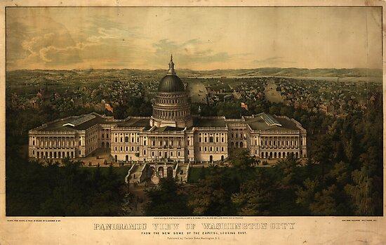 Vintage Pictorial Map of Washignton D.C. (1857) by alleycatshirts