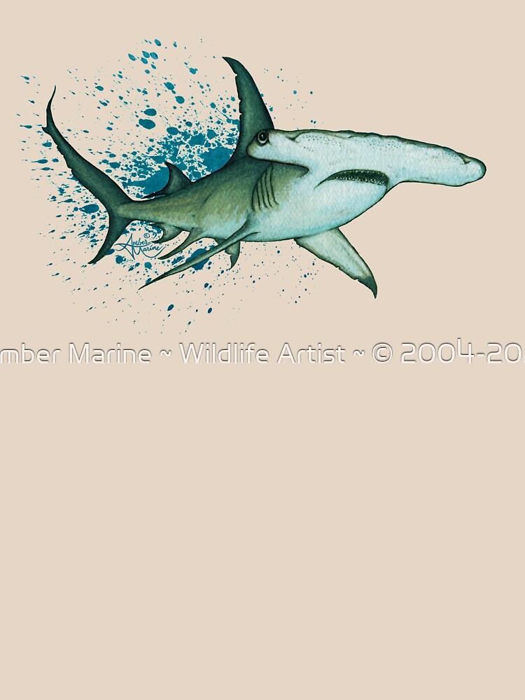 """Great Hammerhead Shark"" by Amber Marine ~ watercolor painting, art © 2016 by AmberMarine"