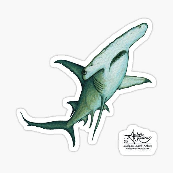 """Great Hammerhead Shark"" by Amber Marine ~ watercolor painting, art © 2016 Sticker"