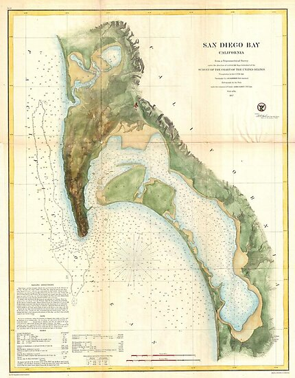Vintage Map of the San Diego Bay (1857) by alleycatshirts