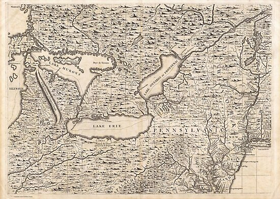 Vintage Map of The Great Lakes (1733) by alleycatshirts