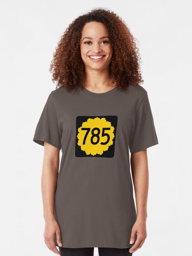Hand Drawn Kansas Sunflower 785 Area Code T-shirt by