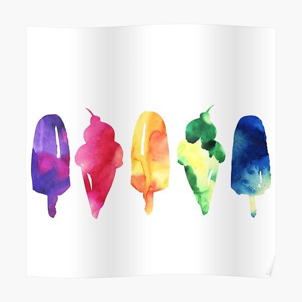 Watercolor Rainbow Popsicle Ice Cream Poster