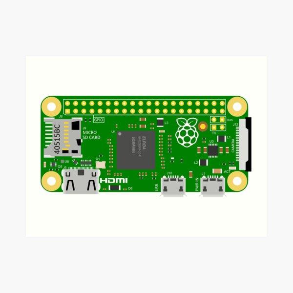 Raspberry Pi Zero Circuit Board Art Print