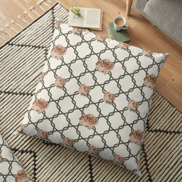 Rose Lattice in Cream (Russet Summer: Coordinate) Floor Pillow