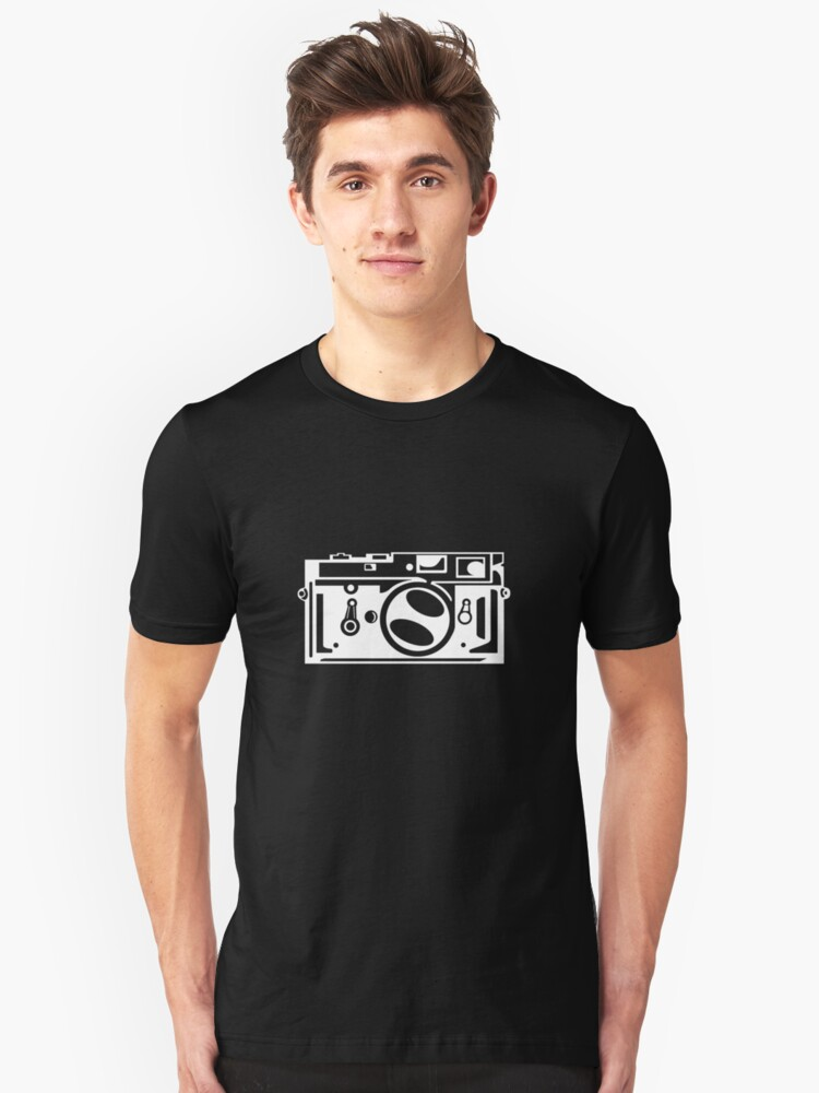 Classic Leica M3 Camera Design WHITE INK for DARK TEES by strayfoto