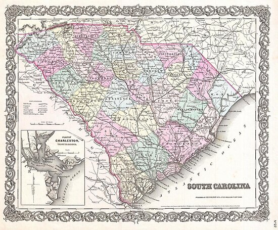 Vintage Map of South Carolina (1855) by alleycatshirts